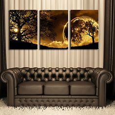 E-HOME®+Stretched+Canvas+Art+Dusk+Under+The+Tree+Decorative+Painting+Set+of+3+–+USD+$+83.99