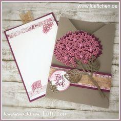 handmade card fromLüftchen Stempelstudio Bergedorf: Blog Hop Juli Wald der Worte ... fancy fold criss cross card with pull=out notecard ... Thoughtful Branches hydrangea ... luv the layout details ...