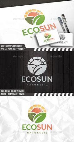 Eco Sun Logo Template PSD, Vector EPS, AI Illustrator #logotype Download here: http://graphicriver.net/item/eco-sun-logo/14479862?ref=ksioks
