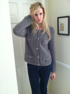 Cardigan Chic  Hand Knit Gray Mohair Cardigan by BrittneyCatherine, $149.00