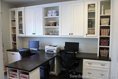 Home Office with 2 stations and cabinetry.