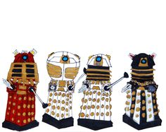 (left to right) dalek supreme, emperor dalek, imperial dalek and saucer comander