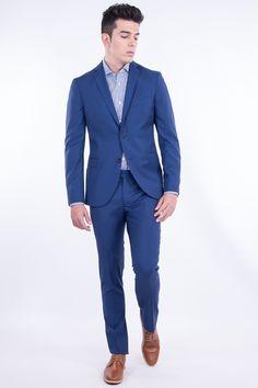 Slim Fit Virgin Wool Suit In Intense Texture