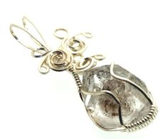 Herkimer Diamond Wire Wrapped Crystal Gem Pendant 19