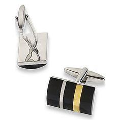 Onyx Striped Rectangle Cufflinks | Paul Fredrick