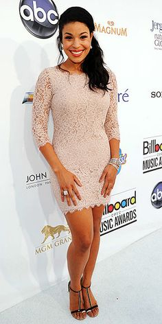 Billboard Music Awards 2012: JORDIN SPARKS in a long-sleeve cream Diane Von Furstenberg mini, accessorized with black-and-silver T-strap heels and jewels by David Yurma