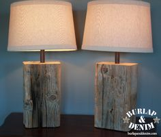 Distressed Salvaged Wood Block Lamp DIY