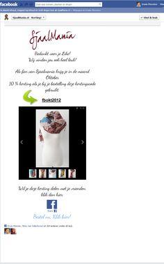 Sjaalmania Korting Tab Fan view. 100% gratis via Webdoc en Static Html.  Fangate + Tekst + Slideshow + Share knop + Link + Facepile $0.01