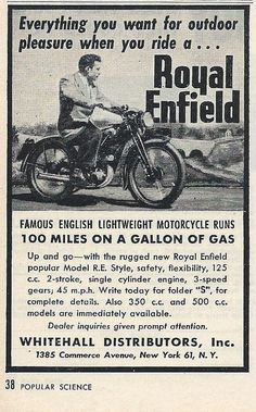 Vintage Motorcycle Advertising - Royal Enfield Motorcycle, From Popular Science, June 1948 | by France1978