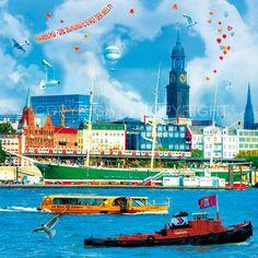 *Faszination Hamburg – City (Design 70) – Digital Collage.*  Hamburg PopArt - kreative und ungewöhnliche Ansichten auf die Hauptstadt des Nordens.