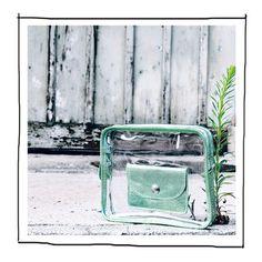ICE CUBE transparent clutch metallic green, detachable wallet SS2014 Transparent Clutch, Cube, Metallic, Collections, Wallet, Green, Handmade Purses, Diy Wallet, Purses