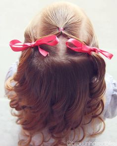 Super cute and easy half up toddler style. Love how the curls turned out :)  - brownhairedbliss