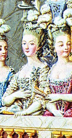 The Coronation of Louis XVI.  Detail of Marie Antoinette with her  ladies in the grandstand. Illumination,  gouache, 18th century.