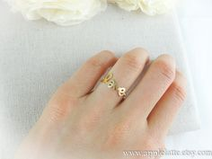 gold love ring with twisted ringband us size 5  9 by applelatte, $13.00