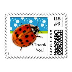 Cute ladybug thank you postage stamps with a trendy blue and white floral background.