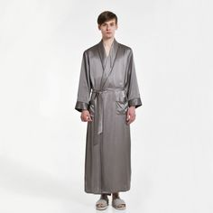 dea927d58b Mens Pure Silk Long Dressing Gown Bathrobe Pjs - OOSilk  silk  sleepwear   nightwear