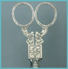 Antique Dutch Engraved Silver Embroidery Scissors; Circa 1870