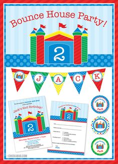 Bounce House theme party invitations, water labels, party printables and more! www.Chickabug.com