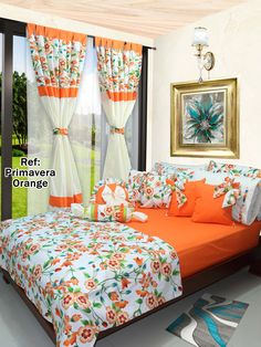 Ref: Primavera Orange 🌺 Disponible en todas las medidas, # Cojines y debaño Bedroom Decor For Couples, Diy Bedroom Decor, Living Room Decor, Luxury Curtains, Home Curtains, Bed Sheet Painting Design, Bed Cover Design, Designer Bed Sheets, Indian Room