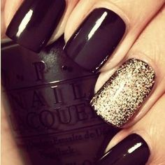 Black gold nails
