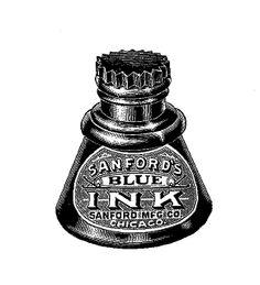 Digital Stamp Design: Free Writing Digital Stamp: Vintage Ink Well Digital Stamp