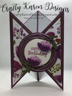 I've used blackberry bliss and peaceful Poppies suite to make this lovely fun fold card. Tri Fold Cards, Fancy Fold Cards, Folded Cards, 3d Cards, Poppy Cards, Shaped Cards, Card Making Tutorials, Handmade Birthday Cards, Handmade Cards