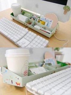 DIY Paper Stationery Makeup Comestics Pen Desk Organizer Storage Box Long in Home & Garden, Household Supplies & Cleaning, Home Organization, Storage Boxes Desk Organization Diy, Diy Desk, Diy Storage, Diy Rangement, Stationery Paper, Mason Jar Diy, Diy Projects To Try, Diy Paper, Office Decor