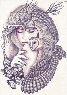 Owl Spirit Art Print by Andrea Hrnjak - X-Small Spirit Animal Tattoo, Wolf Spirit Animal, Fantasy Kunst, Fantasy Art, Art Drawings Sketches, Tattoo Drawings, Owl Drawings, Kunst Tattoos, Cute Tats
