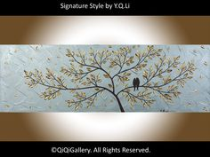"""Acrylic BIRDS painting wall decor wall art Metallic silver Impasto palette knife wall hangings Wedding Gift """"Be With You"""" by QIQIGALLERY"""