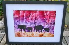 Encaustic wax silhouette elephants by Moo Doodle https://www.facebook.com/moodoodle15