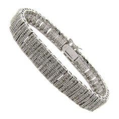 Finesque Sterling Silver 2ct TDW Diamond Stripe Bracelet (15,085 INR) ❤ liked on Polyvore featuring jewelry, bracelets, sterling silver bracelet, sterling silver bangles, bracelet bangle, clasp bracelet and sterling silver jewelry
