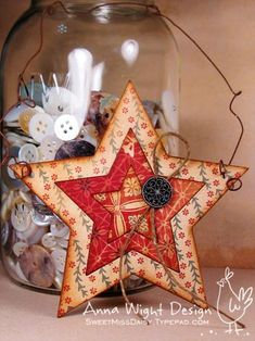 big Sizzix dies that cut chipboard, used the nested stars die to make these fun holiday stars with a country twist. Paper Christmas Ornaments, Christmas Decorations To Make, Christmas Projects, Handmade Christmas, Holiday Crafts, Christmas Crafts, Tree Decorations, Christmas Makes, All Things Christmas