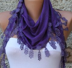 Purple  Scarf    Cotton Scarf   Headband  Cowl with by fatwoman, $17.00
