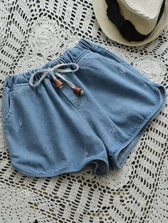 SHARE & Get it FREE | Elastic Drawstring Waist Denim Hot Shorts - Denim BlueFor Fashion Lovers only:80,000+ Items • New Arrivals Daily Join Zaful: Get YOUR $50 NOW!