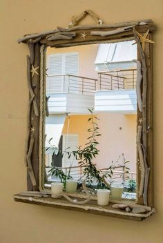 Driftwood Mirror, Driftwood Crafts, Diy Mirror, Wood Creations, Drift Wood, Mirrors, Kai, Furniture, Home Decor