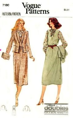 Vogue 7180 A from 1979 - now THIS is super Judy. Chic, good fit, collar with tie ends. Professional, fashionable