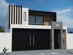 Casa habitación casas minimalistas de dehonor arquitectos minimalista in 2020 House Floor Design, House Gate Design, Garage Door Design, Bungalow House Design, Small House Design, Modern House Design, Bedroom Minimalist, Minimalist House Design, Modern House Facades