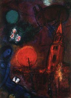 History of Art: Marc Chagall Marc Chagall, Joan Miro Paintings, Chagall Paintings, Art Et Illustration, Illustrations, Folklore Russe, Surrealism Painting, Jewish Art, Naive Art