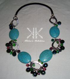 turquesa oval + cristales de Bohemia + eslabones es #KHAINS by #KK #fashion #moda #accessorios #DIY #bijoux #design #necklace