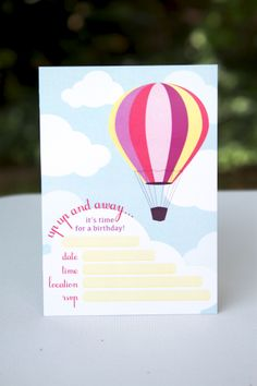 Hot Air Balloon Invitation for the little ladies.