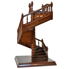 French Mahogany Staircase, 19th Century Model | From a unique collection of antique and modern models and miniatures at https://www.1stdibs.com/furniture/more-furniture-collectibles/models-miniatures/