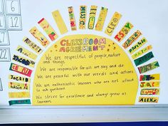 our classroom agreement ☀️☀️☀️💛 classroom management Year 1 Classroom, 3rd Grade Classroom, Classroom Community, Future Classroom, Classroom Promise, Calm Classroom, Classroom Pictures, Classroom Board, Bulletin Boards