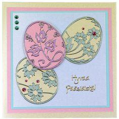 Ääriviivatarrojen avulla tehty kaunis pastellisävyinen pääsiäiskortti. Ideat ja tarvikkeet Sinellistä!