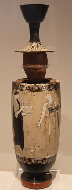 FOR MELANDROS BY BEAUTIFUL DIPHILOS Beautiful Diphilos will dedicate to the dead Melandros this lekythos with the representation of two women preparing his visit to the cemetery. By the Achilles Painter. Attic white-ground lekythos from Eretria, 460-450 BC. Detail. Athens, National Archaeological Museum, Vase Collection