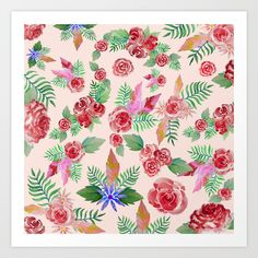 Floral Pattern Art Print by Pattern Art, I Shop, Art Prints, Floral, Art Impressions, Flowers, Flower
