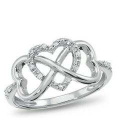 Sterling Silver, Forever Heart Diamond Accent Ring. Hearts interwine to represent endless love.