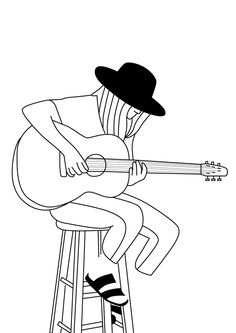 Drawing Ideas Pencil Easy Guitar New Ideas Music Drawings, Pencil Art Drawings, Easy Drawings, Art Sketches, Guitar Doodle, Guitar Drawing, Line Drawing, Painting & Drawing, Drawing Ideas