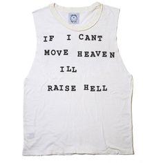 Raise Hell T-Shirt Tank (570 CZK) ❤ liked on Polyvore featuring tops, shirts, tank tops, tanks, shirts & tops, crew neck shirt, crew neck tank top, cotton tank and crewneck shirt