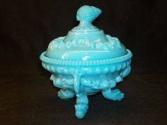 PORTIEUX VALLERYSTHAL Blue Milk Glass Argonaut Dolphin Shell Covered Bowl France #PORTIEUXVALLERYSTHAL