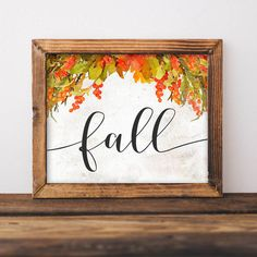 Fall Printable Art Fall print Fall sign by GracieLouPrintables